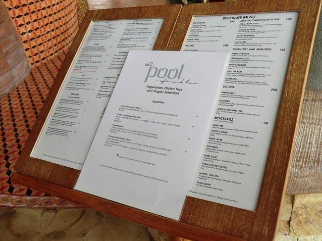 パドマリゾート ウブド プールカフェ&バー メニュー